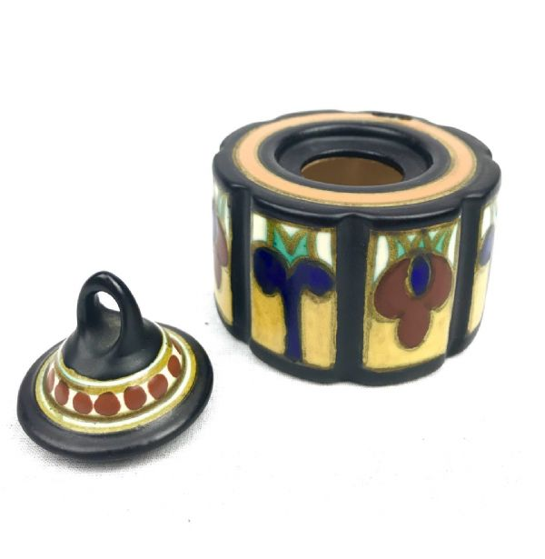 Gouda Pottery Inkwell / Jar / Vase / Blue / Yellow / Brown / Art Deco 1931